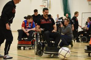 Crystal Palace: Speroni and Ledley try their hand at powerchair football... and lose